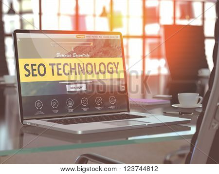 SEO - Search Engine Optimization - Technology Concept. Closeup Landing Page on Laptop Screen  on background of Comfortable Working Place in Modern Office. Blurred, Toned Image. 3D Render.