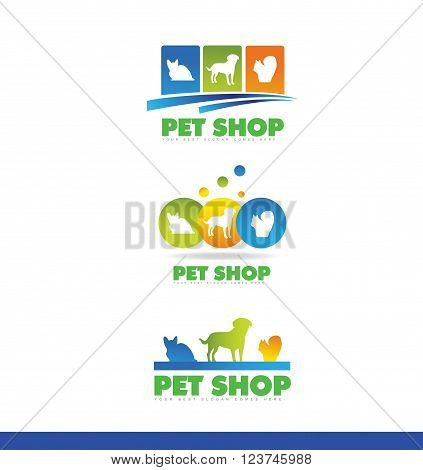 Vector company logo icon element template pet shop veterinarian veterinary animal dog cat squirrel shelter