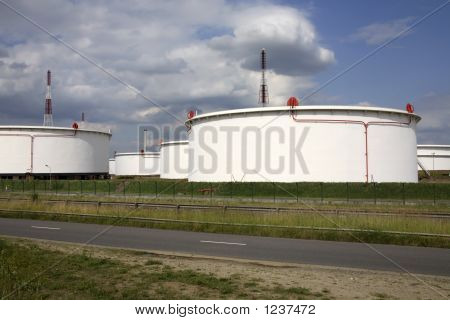 Storage Tanks At A Chemical Plant In The Port