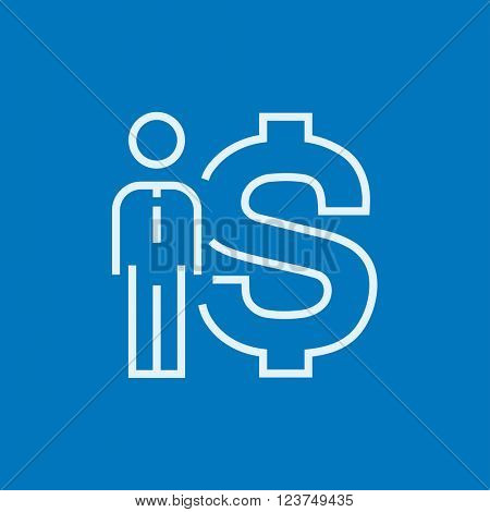 Businessman standing beside the dollar symbol line icon.