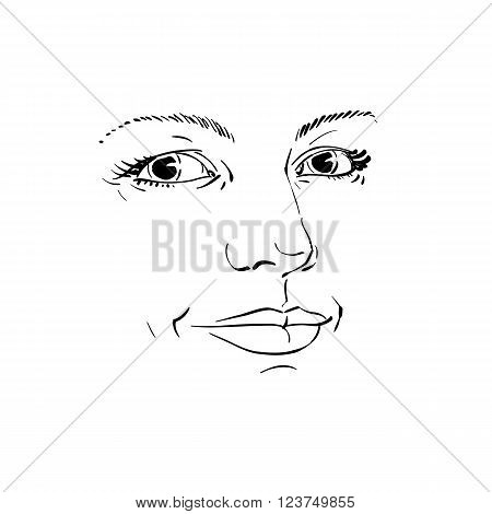 Monochrome silhouette of romantic attractive lady face features. Hand-drawn vector illustration of woman visage outline.