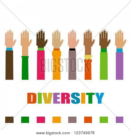 diversity hands raised illustration
