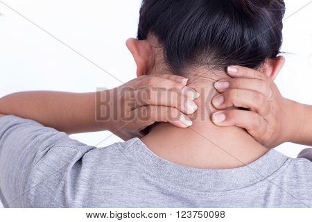 Woman's hand on her neck isolated on white background : Medical concept