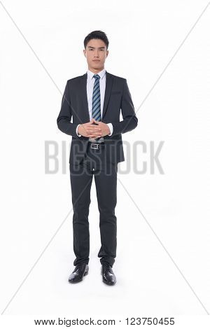 Full body young business man portrait isolated on white