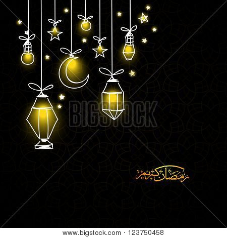 Beautiful glowing lanterns with bulb, crescent moon and stars on black background for Holy Month of Muslim Community, Ramadan Kareem celebration.
