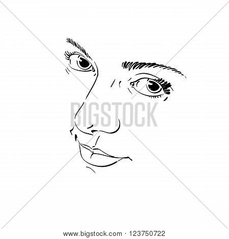 Monochrome Silhouette Of Melancholic  Attractive Lady, Face Features. Hand-drawn Vector Illustration