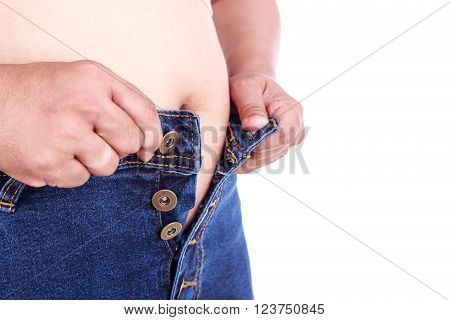 Fat Woman Trying To Wear Jeans : Fat And Healthy Concept