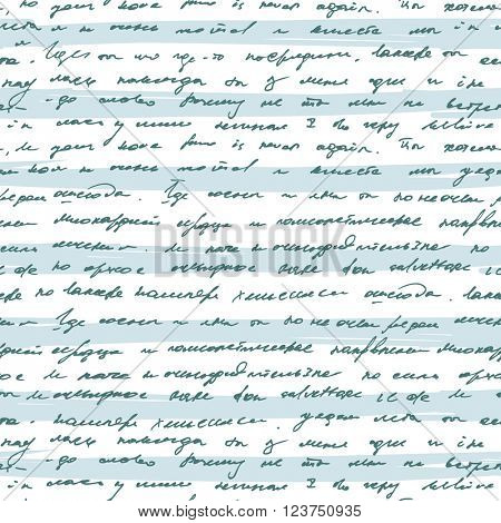 Seamless pattern with handwriting text on blue striped background. Abstract vintage seamless text pattern.