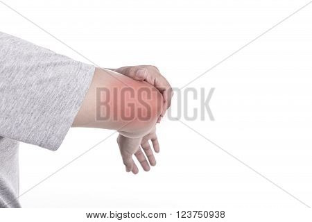 Close up woman's hand holding her elbow isolated on white background. Elbow pain concept.