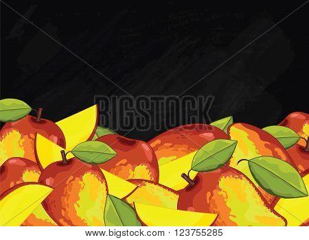Mango on chalkboard background. Mango composition, plants and leaves. Organic fruit. Summer fruit. Fruit background for packaging design. Mango fruit with green leaf. Ripe fruit.