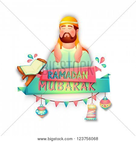 Glossy illustration of religious arabian man reading Namaz (Muslims Prayer) with other Islamic ornaments for Holy Month, Ramadan Mubarak.