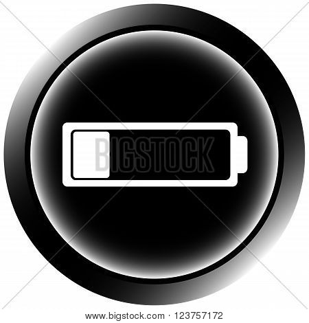 Black icon the button with the discharged empty battery