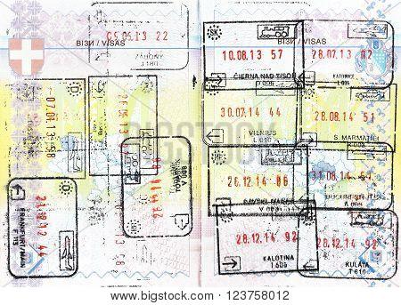 Immigration stamps of Schengen countries in a Ukrainian passport