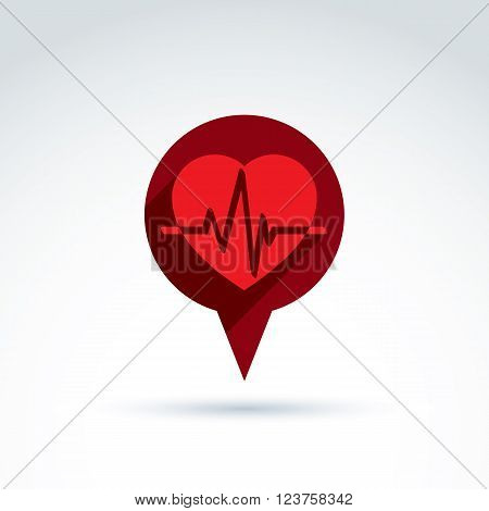 Heartbeat Line, Red Medical Cardiology Icon. Vector Illustration Of A Red Heart With An Ecg Placed I