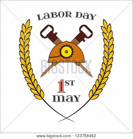 May Day. May 1st. Labor Day Icon with two crossed jackhammers and helmet over white . Element for poster, greeting card or brochure template, logo, symbol of work and labor, vector icon