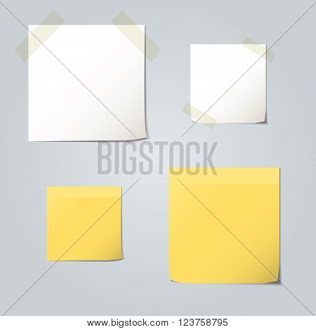 White and yellow folded paper set collections and element for attaching paperclip. Vector illustrations.