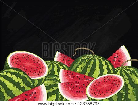 Watermelon on chalkboard background. Watermelon composition, plants and leaves. Organic fruit. Summer fruit. Fruit background for packaging design. Watermelon fruit with green leaf. Ripe fruit.