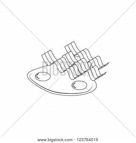 Bacon and eggs breakfast icon in isometric 3d style isolated on white background. Two fried eggs and three slices of bacon