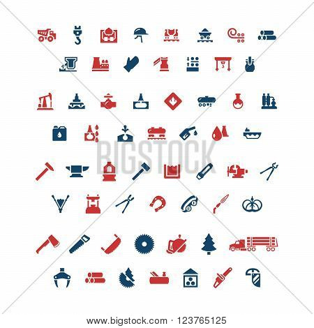Set color icons of industry. Metallurgical, oil, forge and sawmill icons. Vector illustration