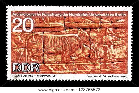 GERMAN DEMOCRATIC REPUBLIC - CIRCA 1970 : Cancelled postage stamp printed by German Democratic Republic, that shows Cattle frieze.