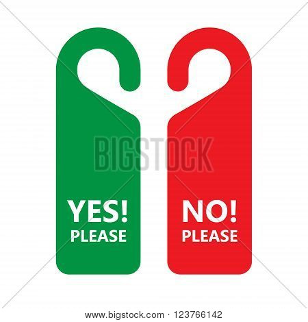Hotel Door Do Not Disturb Sign, Flat Vector Illustration Set