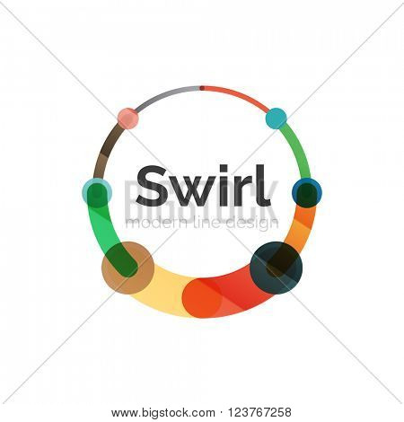 Vector swirl circle logo, linear flat design