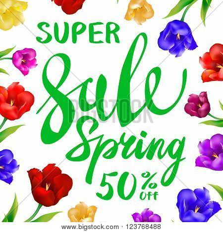 Spring Sale Background With Tulips And Daisies Eps 10 Vector Royalty Free Stock Illustration For Gre