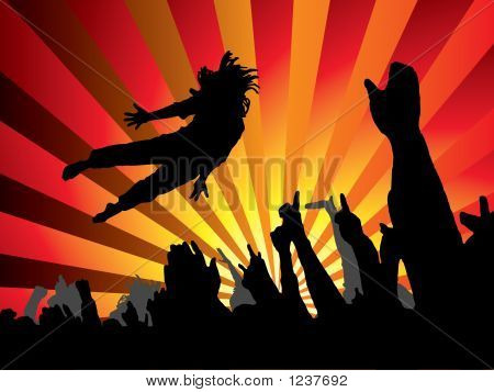 a person jumping at a concert with a abstract background poster