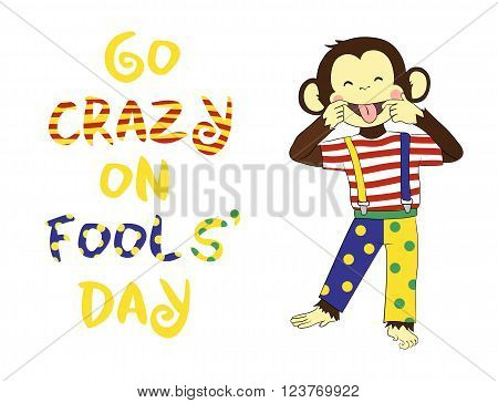 First April Fools day. April fool prank. Funny cartoon All Fools Day card, banner.
