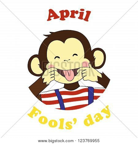First April Fools day. Vector funny cartoon All fools day icon. April fool prank. Ape put out tongue.