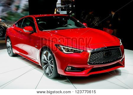 NEW YORK - March 23: A Infiniti Q60 exhibit at the 2016 New York International Auto Show during Press day,  public show is running from March 25th through April 3, 2016 in New York, NY.