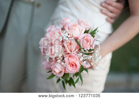 Big wedding bouquet before ceremony in church