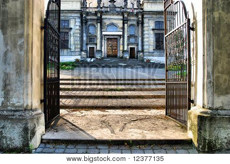 old stairs and gate