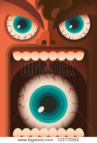 Comic portrait of freaky guy. Vector illustration.