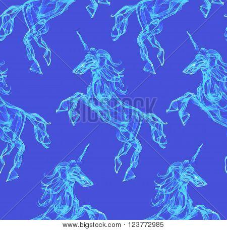 Air unicorn. Smoke texture pattern. Mythology creature