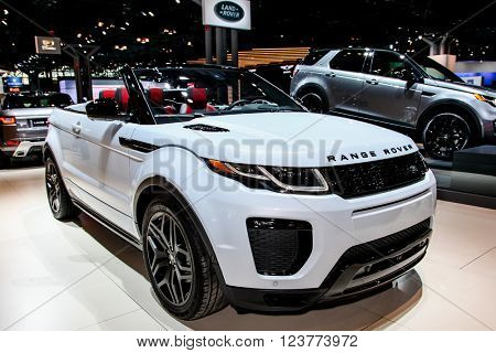 NEW YORK - March 23: A Range Rover,  Land Rover Evoque shown at the New York International Auto  Show exhibit at the 2016 New York International Auto Show during Press day in New York, NY.