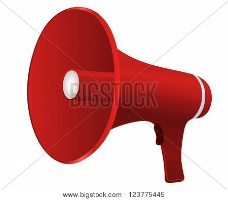 Red cartoon megaphone vector illustration isolated on white