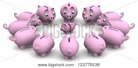 Assistance in financial matters. Financial advice. The large piggy banks are located around the small. The concept of financial assistance counseling. Financial concept. 3D illustration. Isolated