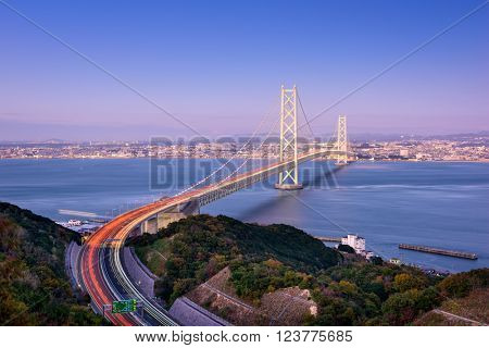 Akashi Kaikyo Bridge spanning the Seto Inland Sea from Kobe, Japan.