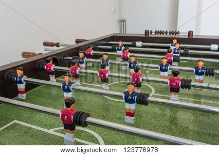 Table football game, Soccer table with red and blue players