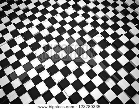 The concept design of futuristic checkerboard. An empty board for chess in modern style.