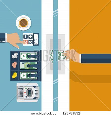 Cashier In Bank. Worker Bank, Financial Specialist.