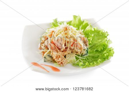 Vegetable salad with croutons and cheese. Isolated on white background.