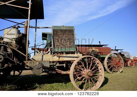 ROLLAG, MINNESOTA-September 3, 2015: An old Russell steam powered  tractor is displayed at the West Central Steam Threshers Reunion(WCSTR) where 1000s attend each Labor Day weekend in Rollag, MN each year.