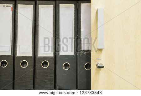 Closeup group of document file in file cabinet background