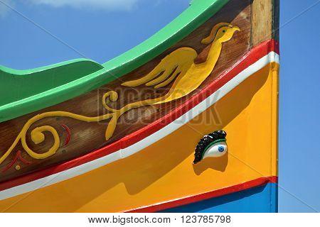 Osiris eye close up on traditional luzzu fishing boat, Malta