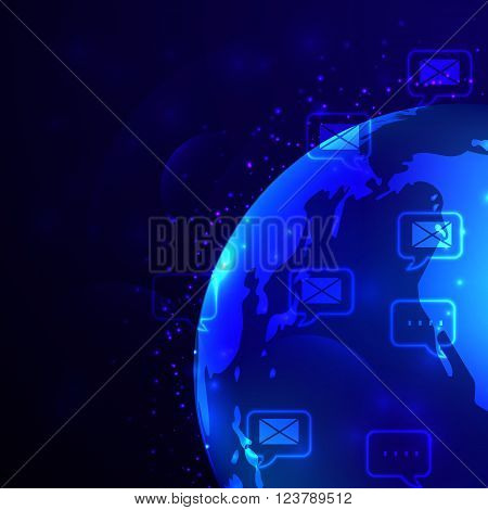 Globe and phone receivers and messages and mails Global communication concept.
