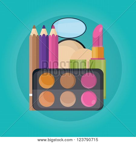 Vector Illustration Of Cosmetic Set, Lipstick, Eyebrown. Powder