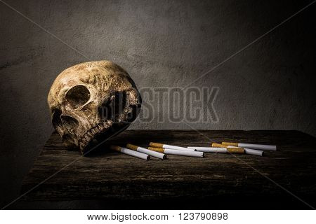 """poster of Still life skull and cigarette people smoke cigarette and get toxin body look like way to die. In the day """" World No Tobacco Day"""" please quit or stop smoke for good health."""