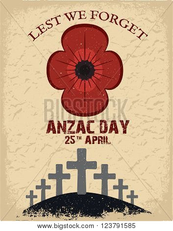 Anzac day. Day card in vector format.
